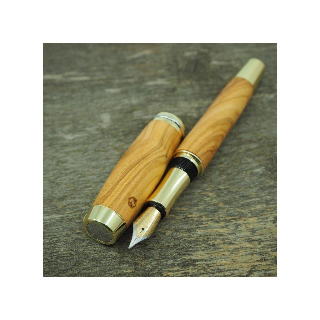 luxusni drevene plnici pero Portland L Sicilska Oliva zlate (9)