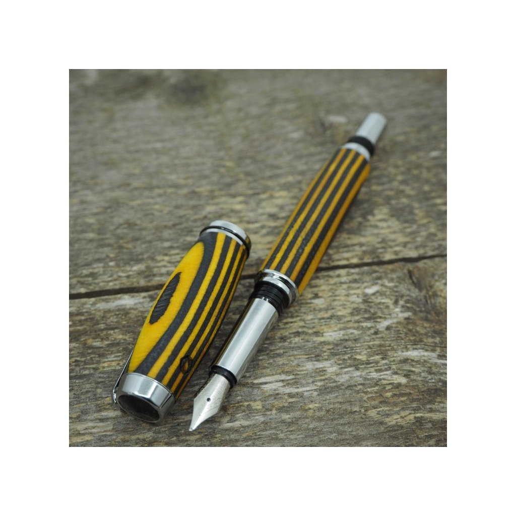 Dřevěné plnicí pero Portland S - žluto-černá dýha 3