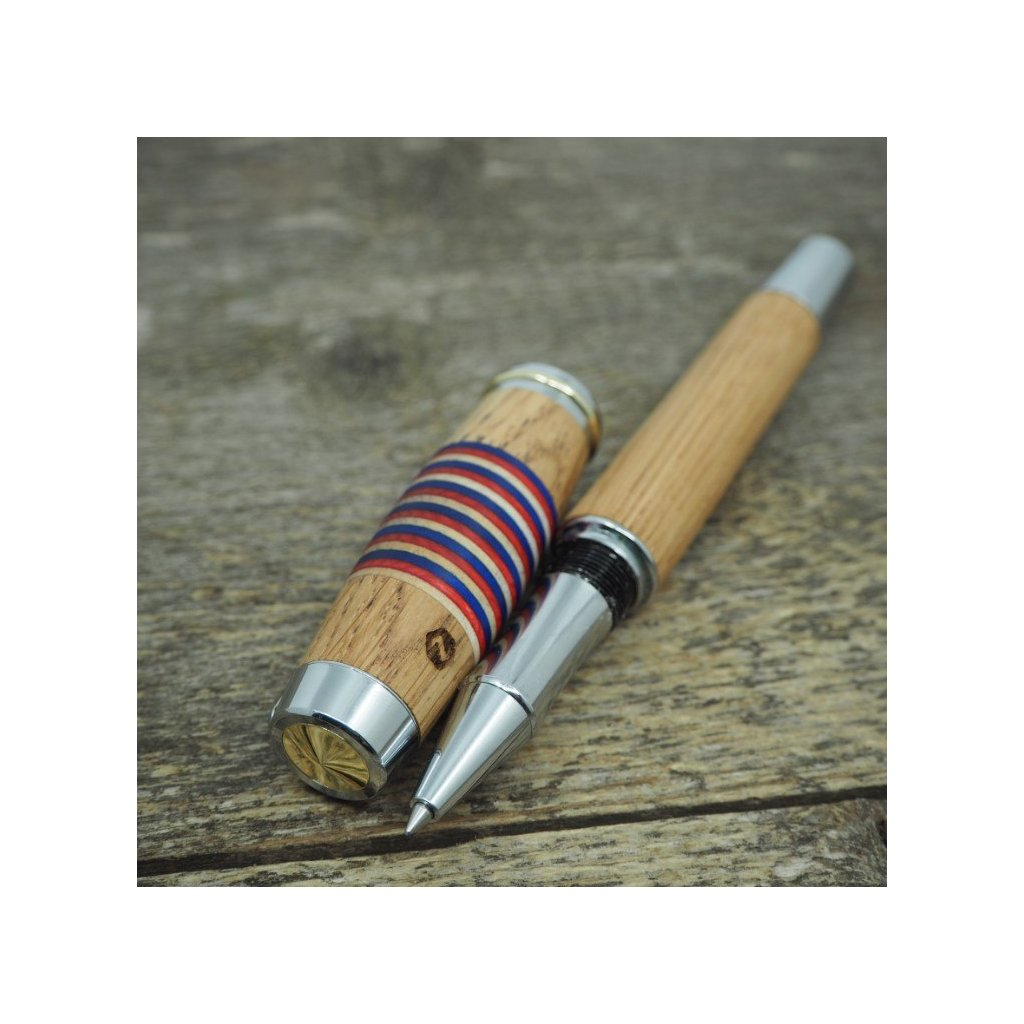 Kuličkové pero Portland L - Bílá-červená-modrá dýha + dub 4