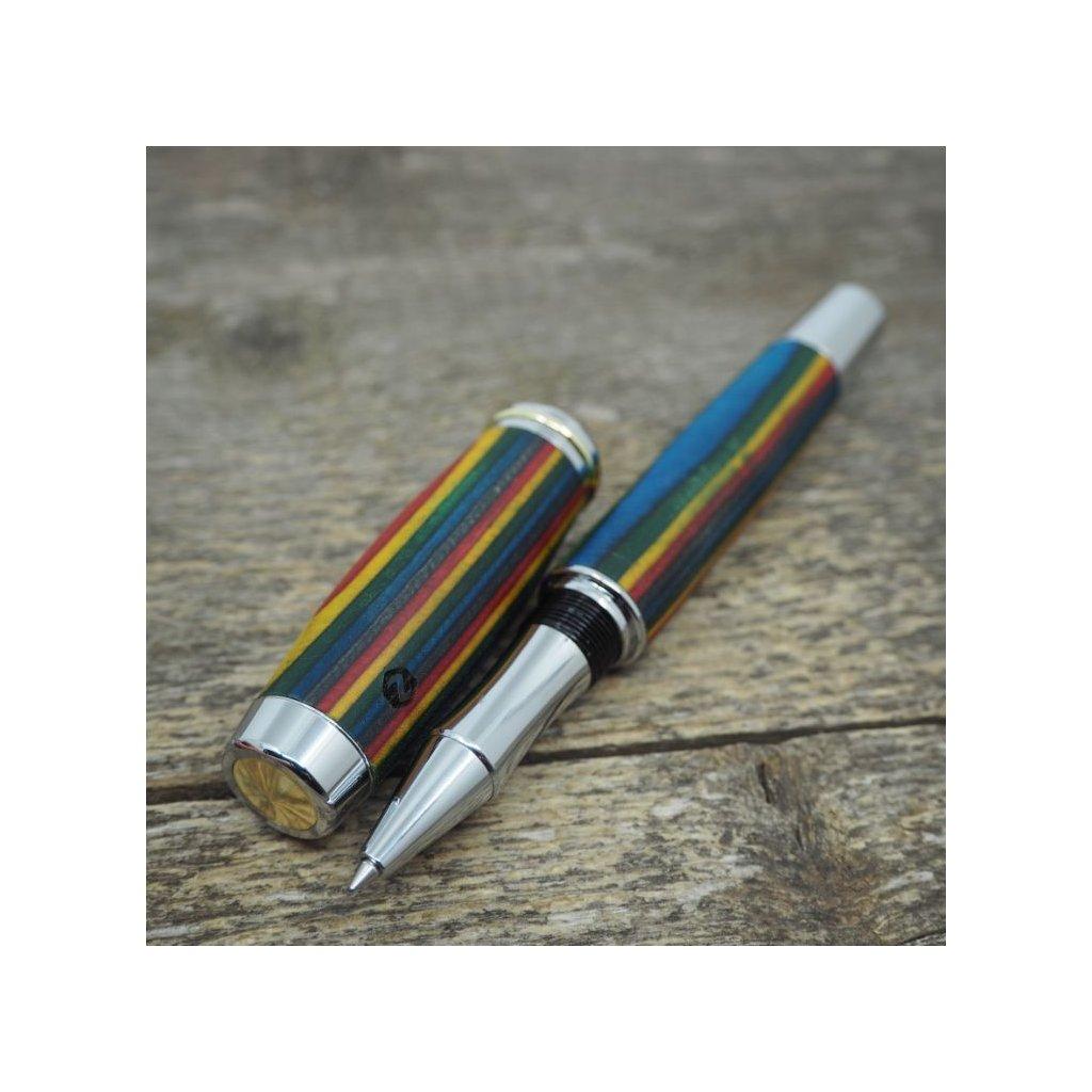 Dřevěné kuličkové pero Portland L - Barevná dýha 2