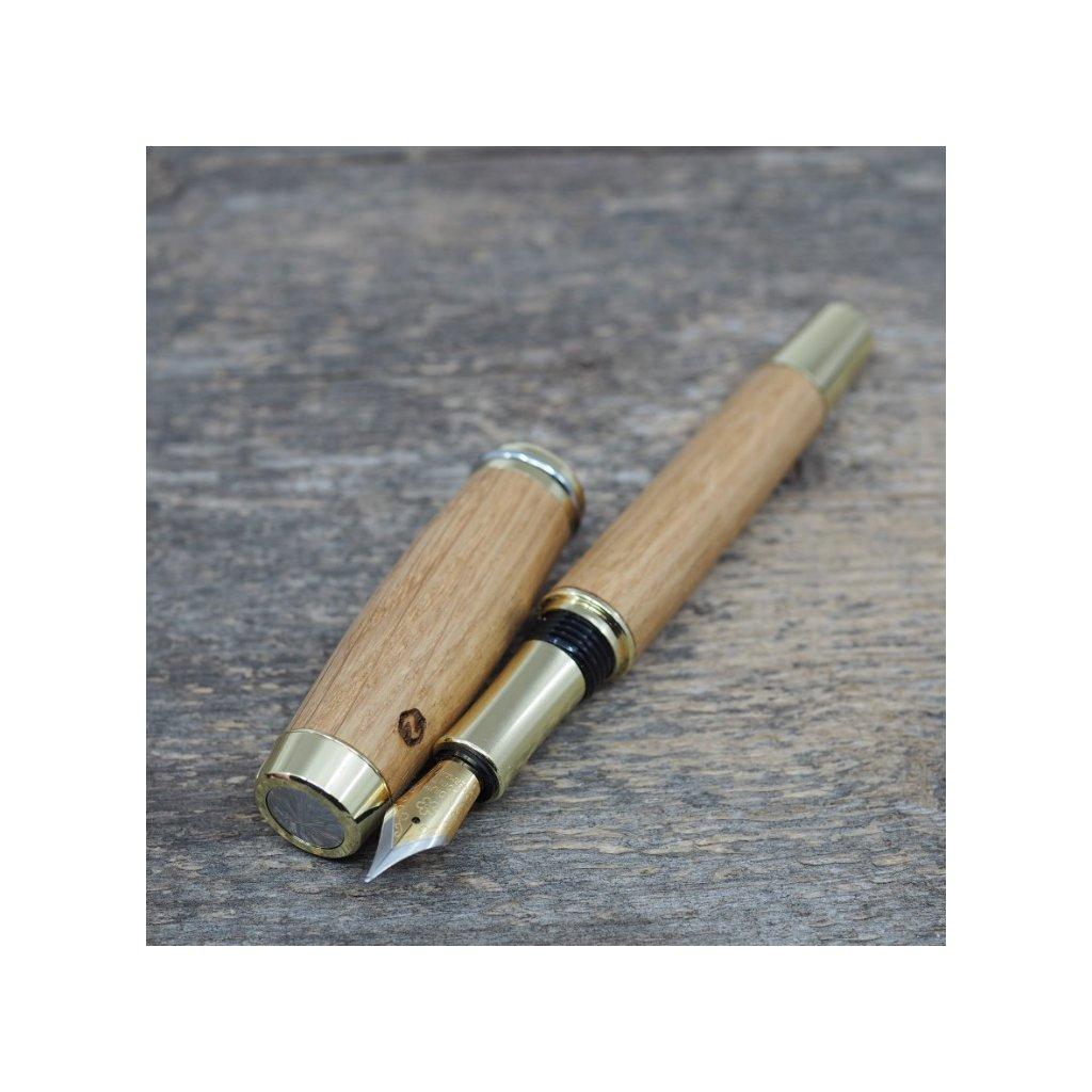 luxusni drevene plnici pero Portland L Cesky Dub zlate (9)