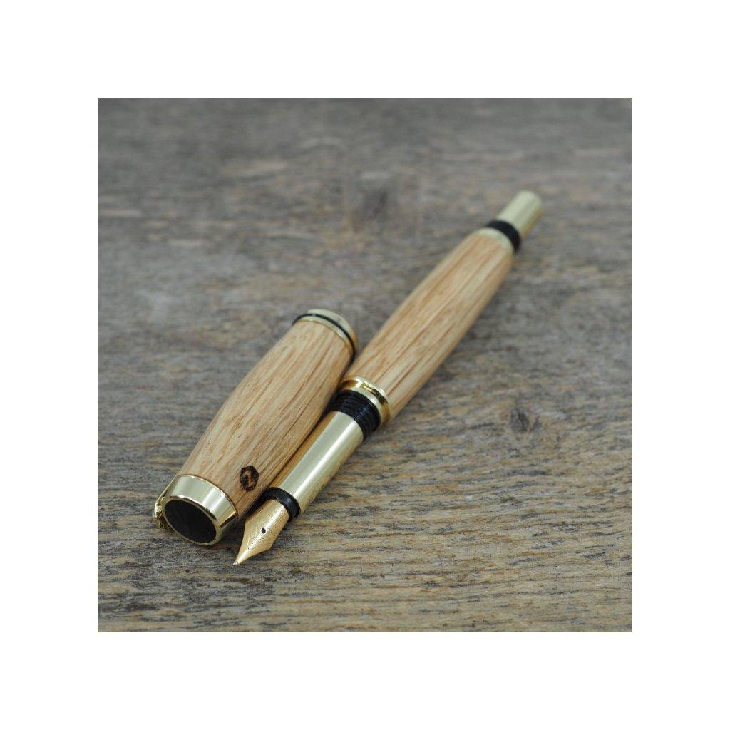 luxusni drevene plnici pero Portland S Cesky Dub zlate (9)