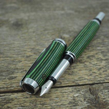 Dřevěné plnicí pero Portland S - Zeleno-černá dýha 3