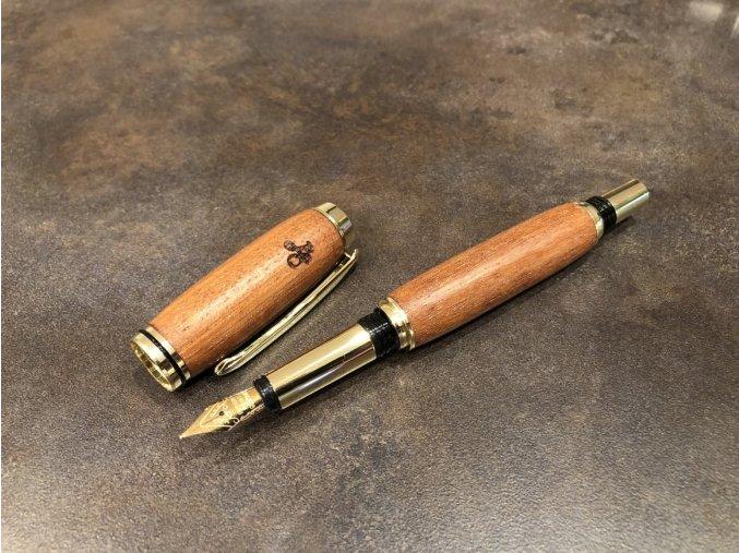 Dřevěné plnicí pero Mukulungu - Majestic Gold