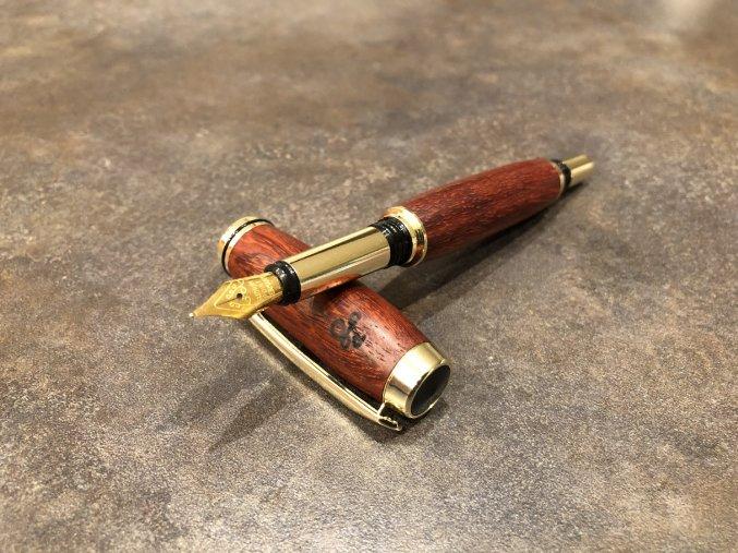 Dřevěné plnicí pero Padouk - Majestic Gold