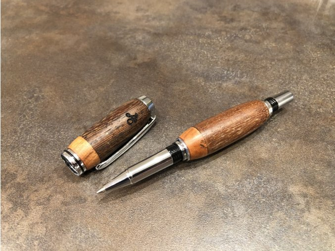 Dřevěné kuličkové pero Panga / Teak - Majestic Silver