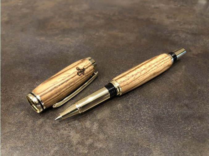 Dřevěné kuličkové pero Zebrano - Majestic Gold