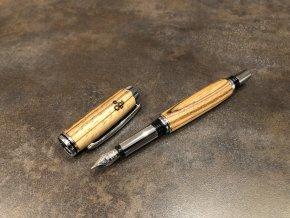 Dřevěné plnicí pero Zebrano - Majestic Silver