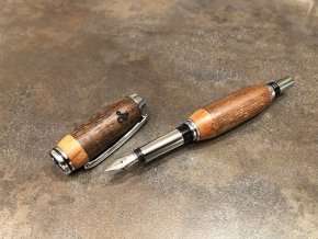 Dřevěné plnicí pero Panga / Teak - Majestic Silver