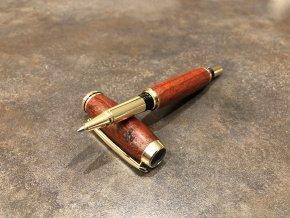 Dřevěné kuličkové pero Padouk - Majestic Gold