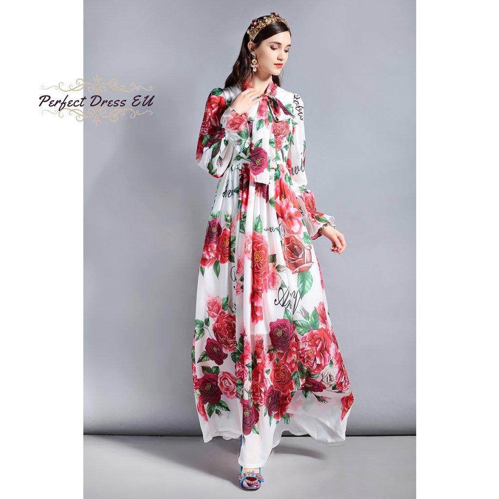 Elegantní bílé stylové maxi dlouhé šaty potiskem růží b38fc79e19
