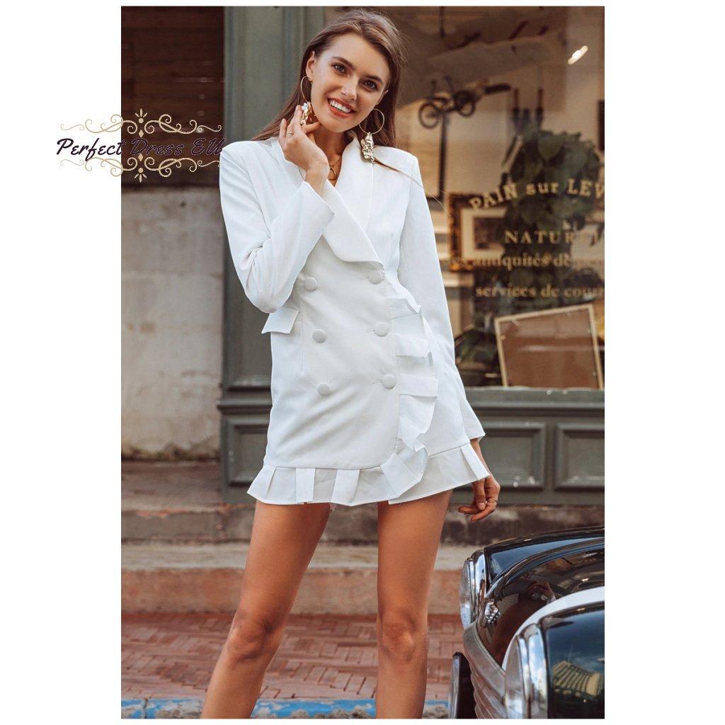 Dámské sakové bílé šaty blejzr s volány límcem a dlouhým rukávem