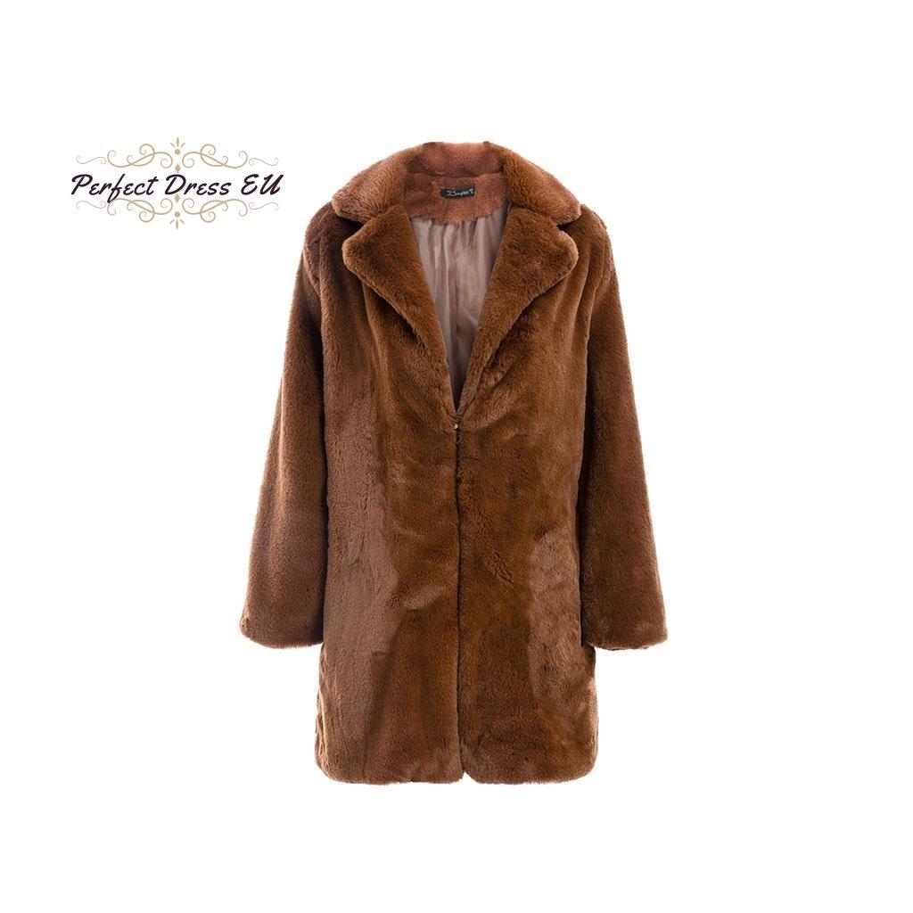 bedf1f806d8 Podzimní Kvalitní a Módní hebký kabát kožich s kapsami