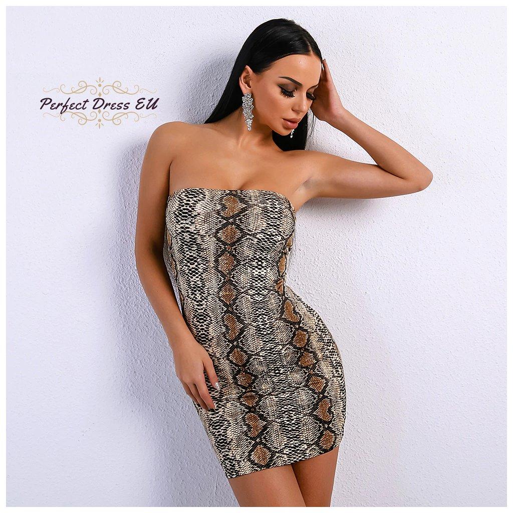 Sexy mini pouzdrové šaty korzetové bez ramínek se zvířecím vzorem