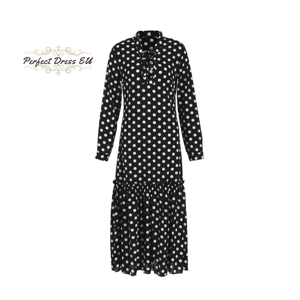 Dlouhé letní šaty černé šifónové šaty průhledné s bilými puntíky