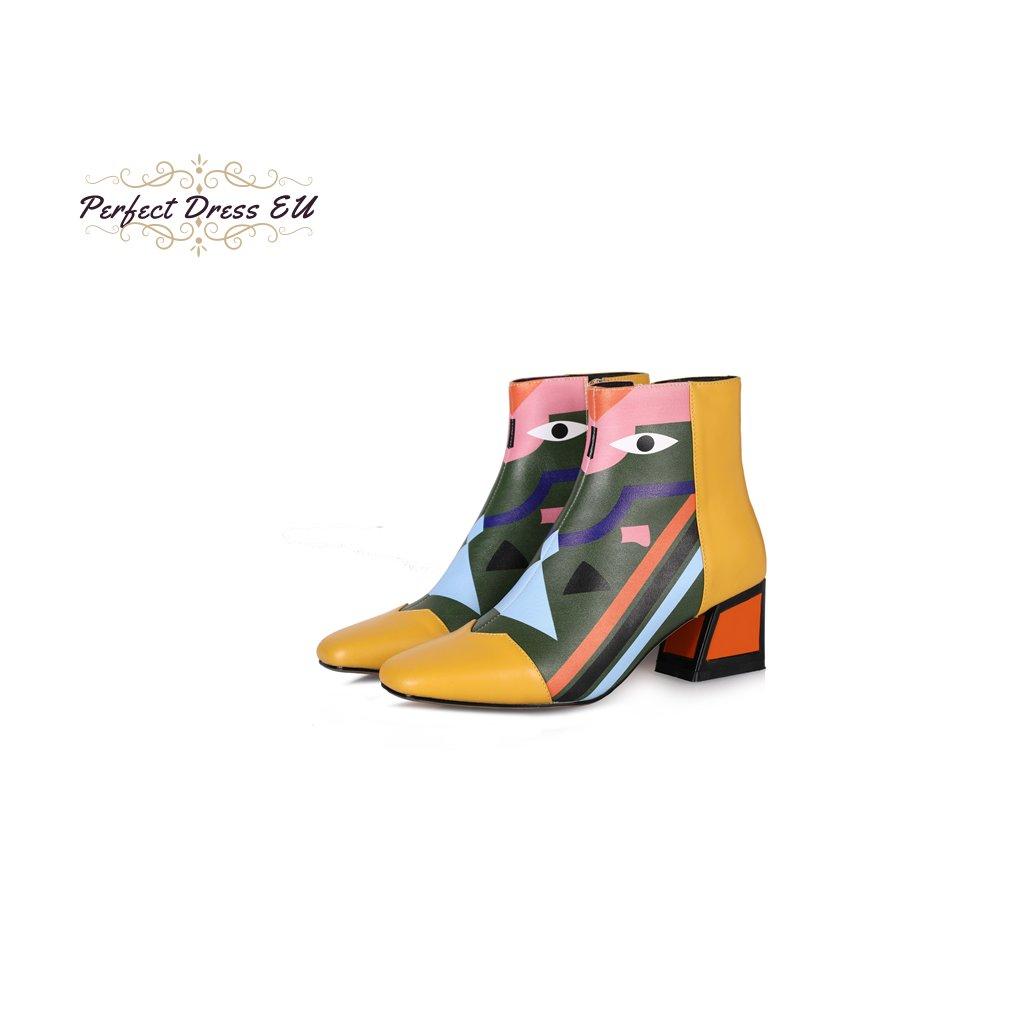 Originální boty barevné geometrický vzor na podpatku pravá kůže (Barva Růžová, Velikost 34, Vlastnost Podpatek 5cm)
