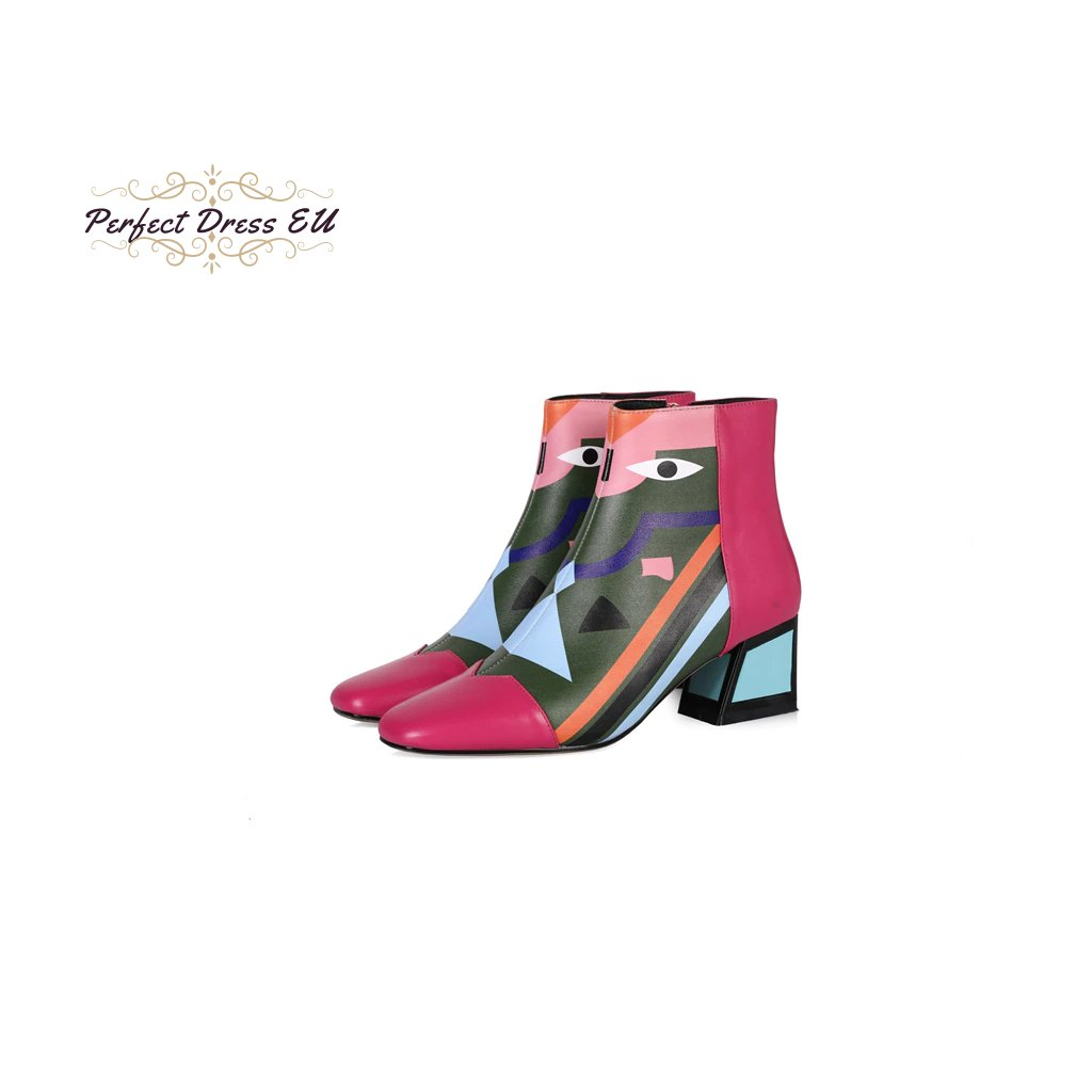 Originální boty barevné geometrický vzor na podpatku pravá kůže