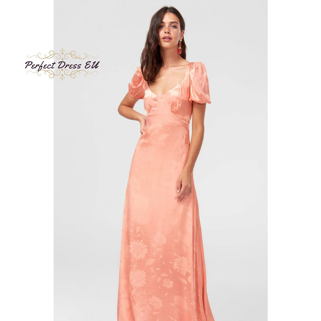 0 Trendyol Powder Jacquard Patterned Advanced Arm Evening Dress TPRSS18FZ0342