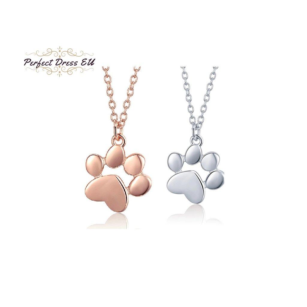 Stříbrný náhrdelník zvířecí vzor s přívěskem tvar packa tlapka psa