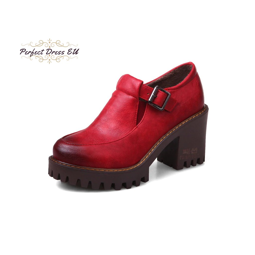 2 Gdgydh New 2019 Spring Platform Women Shoes On Heels British Style Single Shoes Round Toe Square