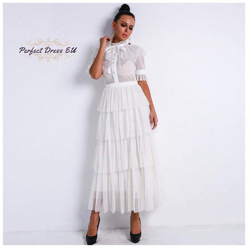 Retro Průhledné šaty bílé, vysoký krk se zavazovací mašlí VEL. M(38)