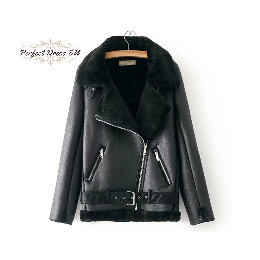 Luxusní dámská zimní kožená bunda černá s kožíškem a páskem (10)