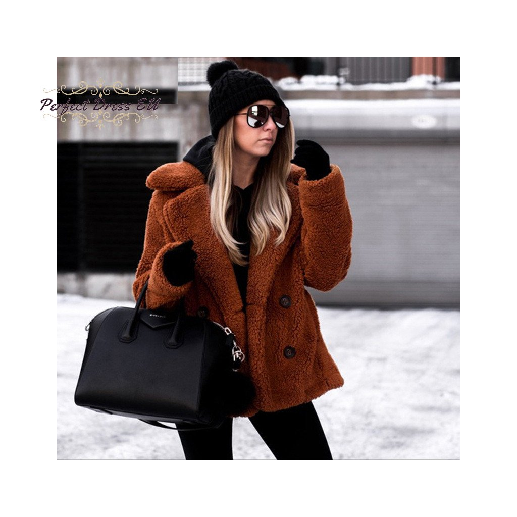 Kožešinová stylová bunda plyšový kožich na knoflíky s límcem (1)