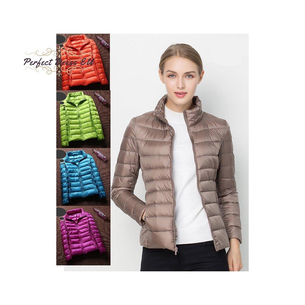 Stylová bunda s dlouhým rukávem bez kapuce různé barvy (17)