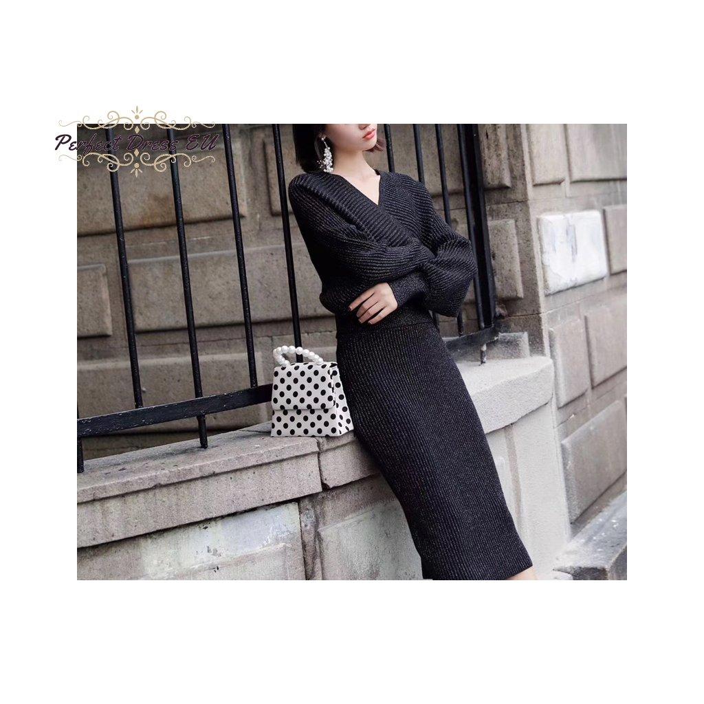 Dámská Pletená elastická teplá souprava teplákový set svetr+sukně