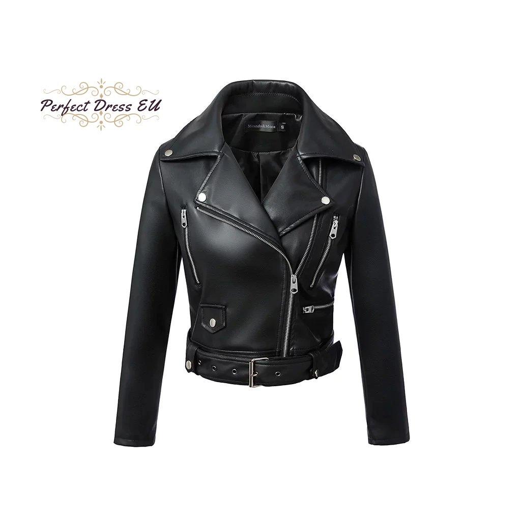 Dámská černá kožená bunda krátká se zipy a s páskem (2)