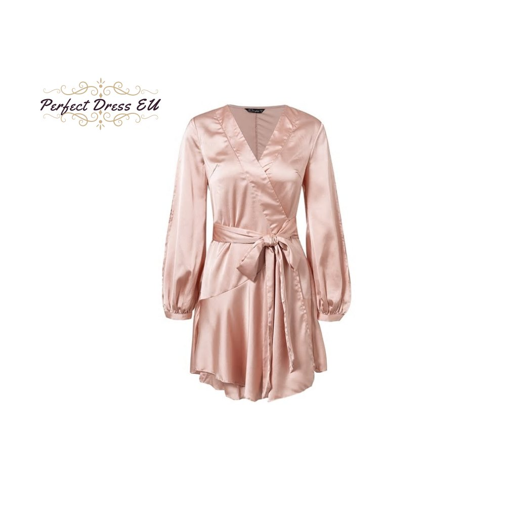 Letní saténové mini šaty s volány zavinovací šaty s páskem v pase