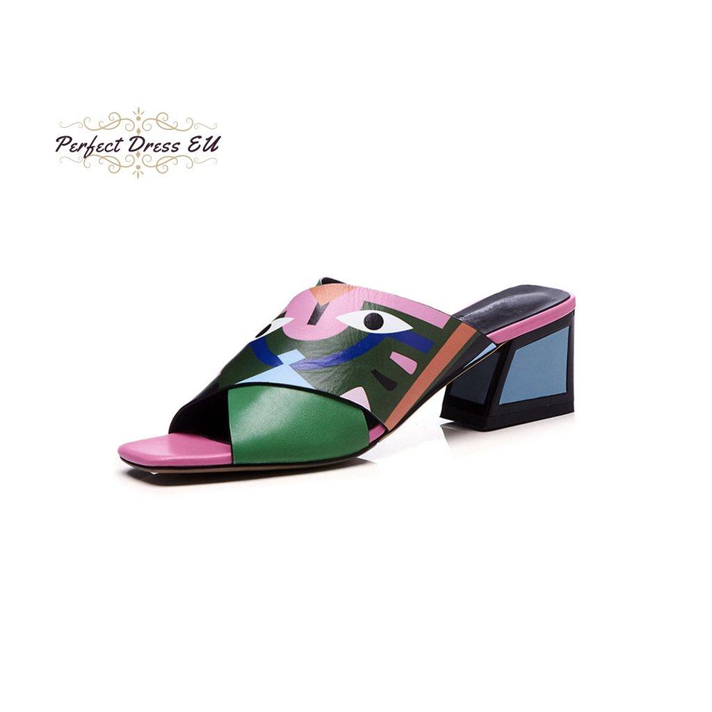 Kožené geometrické pantofle na podpatku s barevným potiskem (Barva Zelená, Velikost 34)