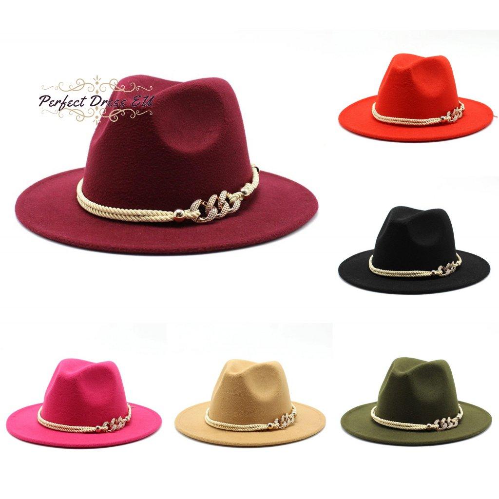 Dámský masivní klobouk zdobený provázkem zlaté barvy (1)
