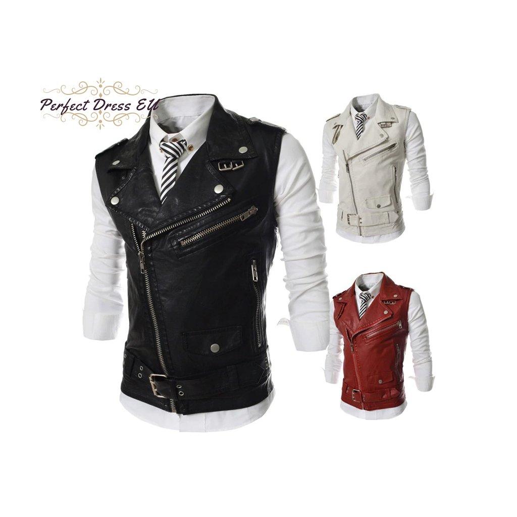 Pánská kožená vesta křivák bez rukávů s asymetrickým zipem (4)