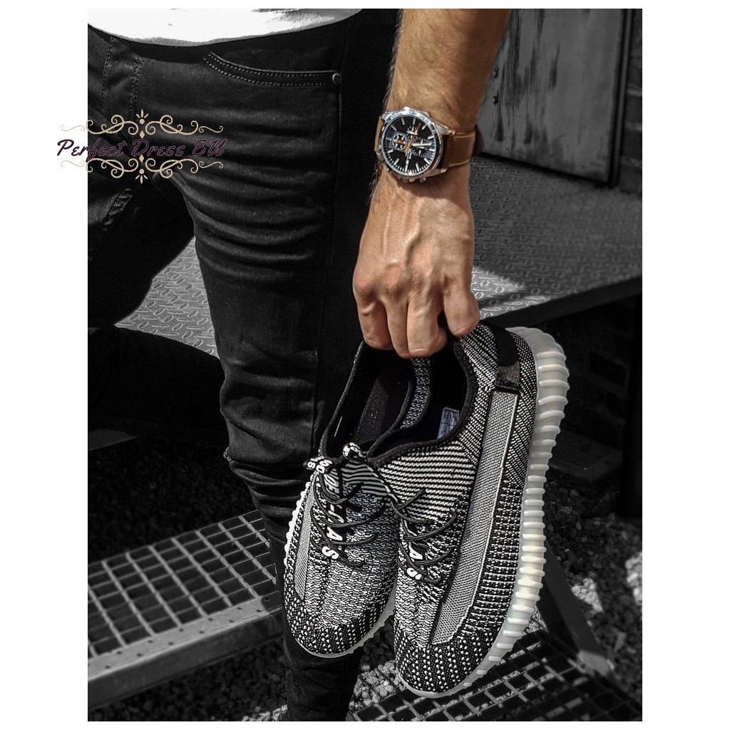 Pánské boty stylové tenisky šedé ZX0180