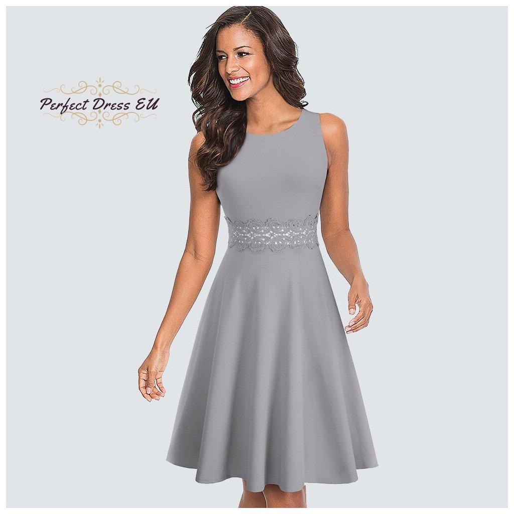 Jednobarevné šaty s krajkou FashionEU