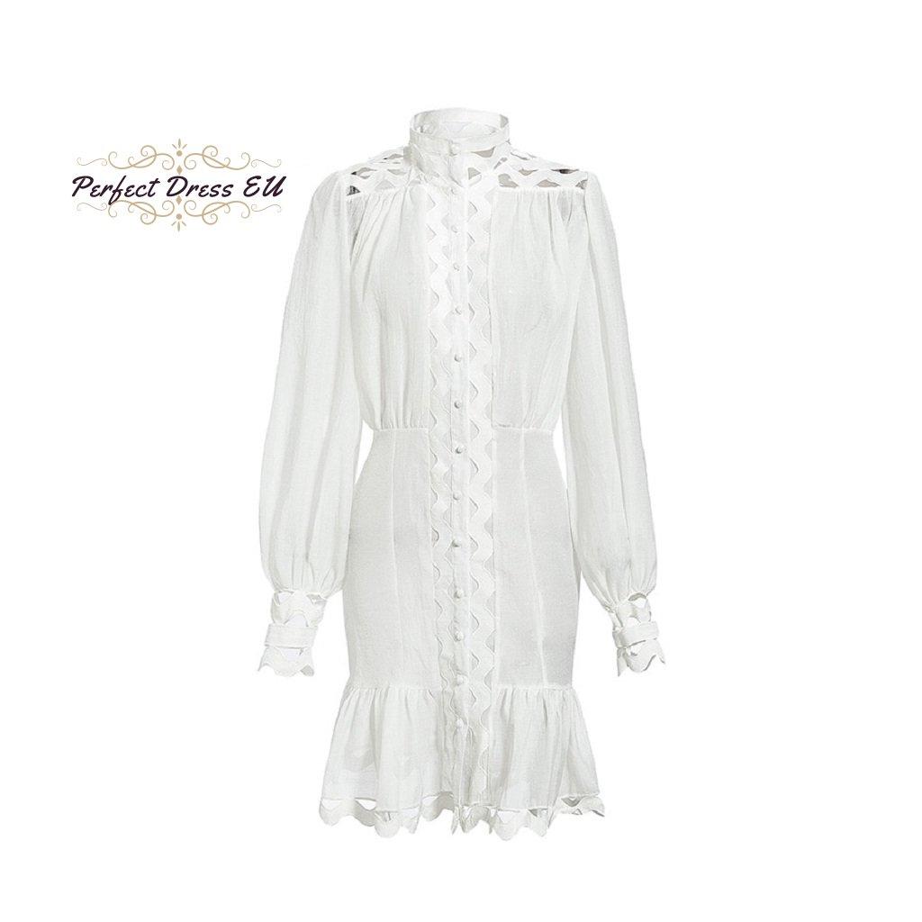 Šaty s děrováním bílé FashionEU