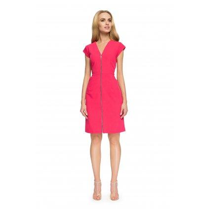 Fuchsiové šaty bez rukávů s V výstřihem a zipem přes přední díl - XL