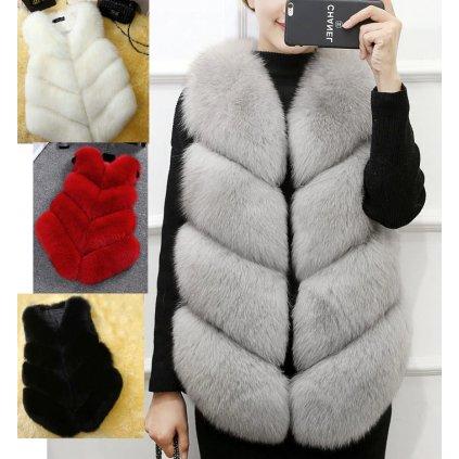 Dámská chlupatá kožešinová vesta zimní teplá až 3XL (8)