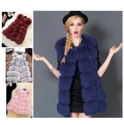 Dámský módní kabátek bez rukávů kožešinová vesta (1)