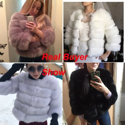 Módní kožešinová bunda umělý kožich s dlouhým rukávem (1)