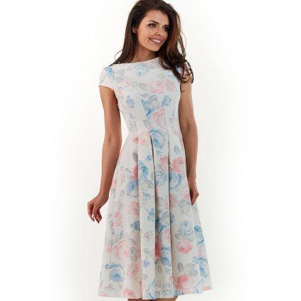 Květované áčkové šaty (XL) řasené s krátkým rukávem a květinami (4)