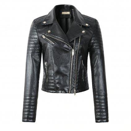 Dámská černá kožená moto bunda krátká se zipy a límcem (2)