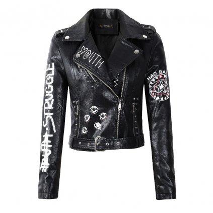 Dámská originální černá kožená bunda s nápisem a potiskem (4)