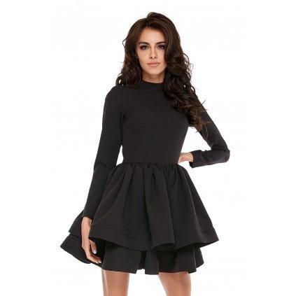 Smyslné šaty s rolákem a dlouhým rukávem s dvojitou sukní (5)
