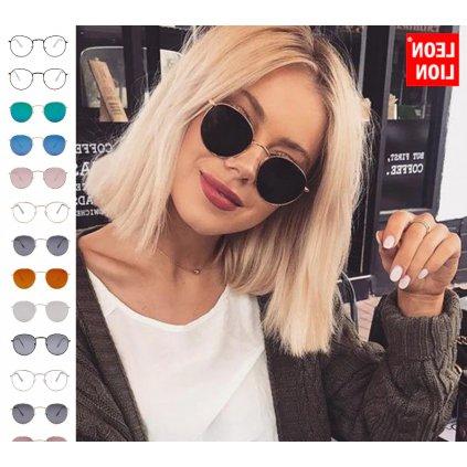 Módní sluneční brýle kvalitní UV400 kulatý design růžné barvy (25)