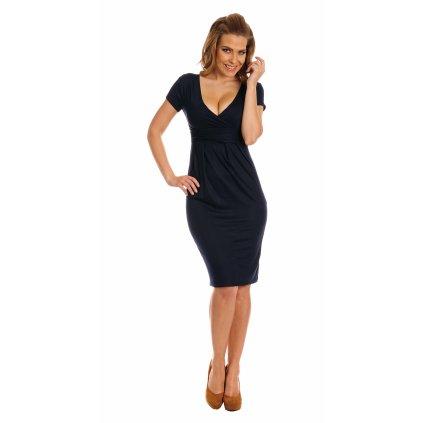 Viskózové šaty tmavě modré s krátkým rukávem a výstřihem vel. S (2)