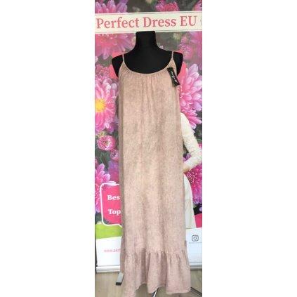 Maxi pletené šaty béžové na špategová ramínka vzorované VEL. M/L