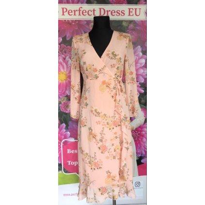 Letní růžové šaty s obálkovým výstřihem s potiskem květin VEL. M/L