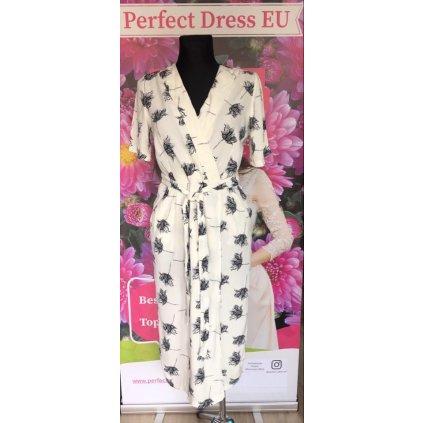 Maxi bílé šaty s potiskem černých květů, pásek v pase VEL. M/L